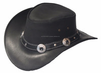 2015 LEATHER COWBOY Black Leather Western Cowboy Hat with Conchos & Rivets Hat Band
