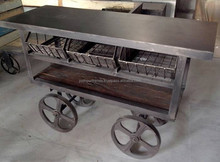 vintage industrial kitchen troly