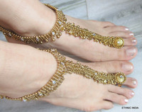GOLD tone payal ANKLETS pair toe ring BAREFOOT SANDAL