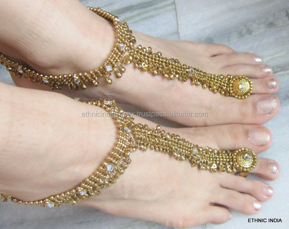 GOLD tone payal ANKLETS toe ring BAREFOOT SANDAL pair