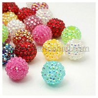 Resin Rhinestone Beads, DIY Material for Basketball Wives Earrings, Round, Mixed Color, Size: about 18mm in diameter RESI-A002-M