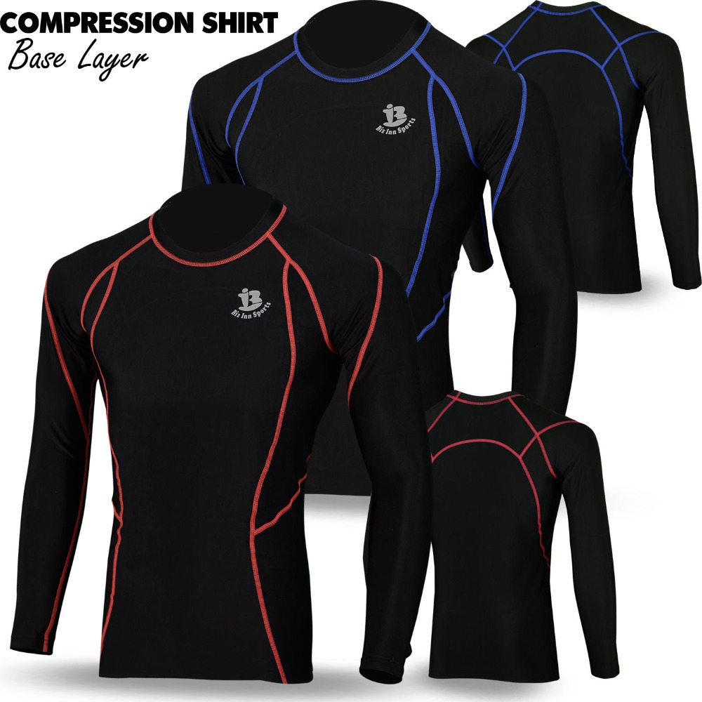 Mens Full Long Sleeve Thermal Base Layer Compression Shirt Top Body Armour