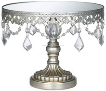 Metal Cake Stand With Hanging Crystal Beads, Decorative Cake Stand, Wedding Cake Stand