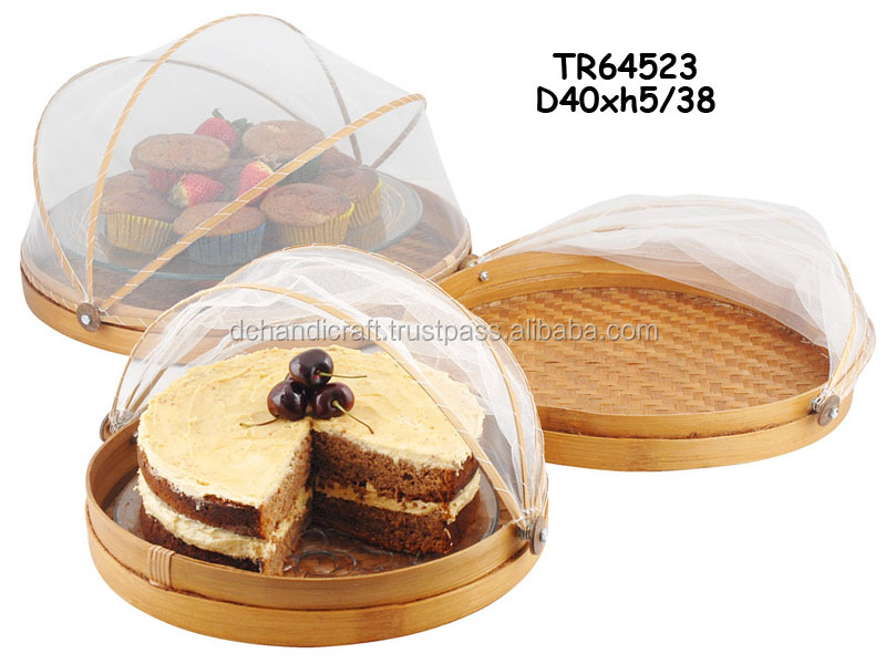Handicraft Flat Bamboo Drying Fruit Basket with Net Cover TR64523