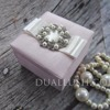 Blush Pink Silk Favor Box With Pearl Brooch