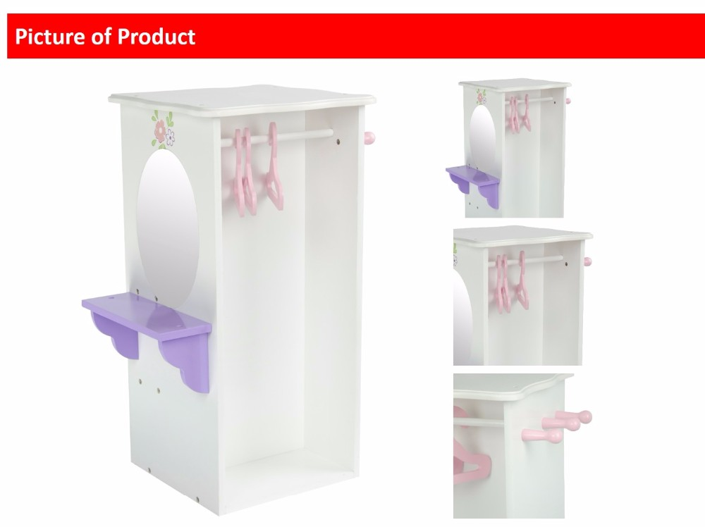 Olivia's Little World - Princess Dresser with 3 Hangers (White) | Wooden 18 inch Doll Furniture