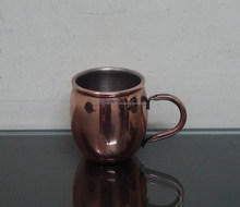 Stainless Steel Cup Small copper plated with handle