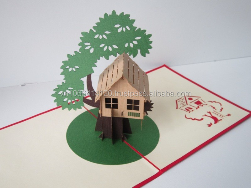 Tree house card 3d greeting pop up card buy greeting for 3d christmas cards to make at home