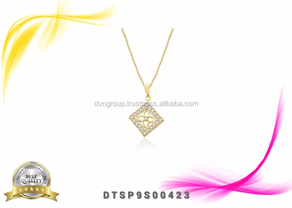 Fashion Gold plated CZ studded Square Women Pendants