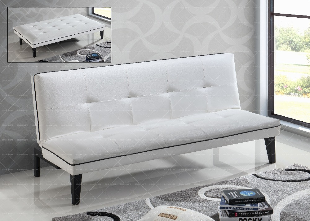 LIVING ROOM FURNITURE, SOFA, WHITE SOFA BED