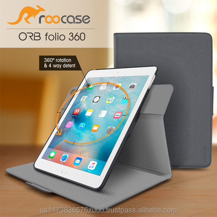 Top Quality roocase ORB 360 Rotating Folio Leather Cover Sleep/Wake Feature for iPad Mini 3, 2, 1 case Wholesale (Gray)