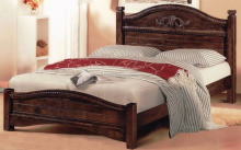 Wood Platform Carved Headboard Wooden Queen Size Bed