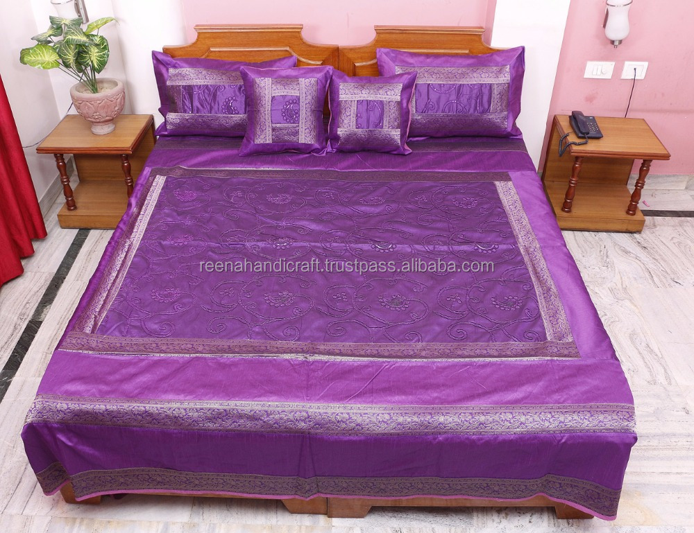 Indian Vintage Purple Silk Jaipuri Bedsheet Hand Block Gold Print Associated Patch Bedspread Bed Cover Throw Blanket