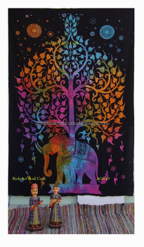 Indian Elephant Tree of Life Tapestry Wall Hanging Cotton Twin Bedspread Wholesale Indian Tapestries