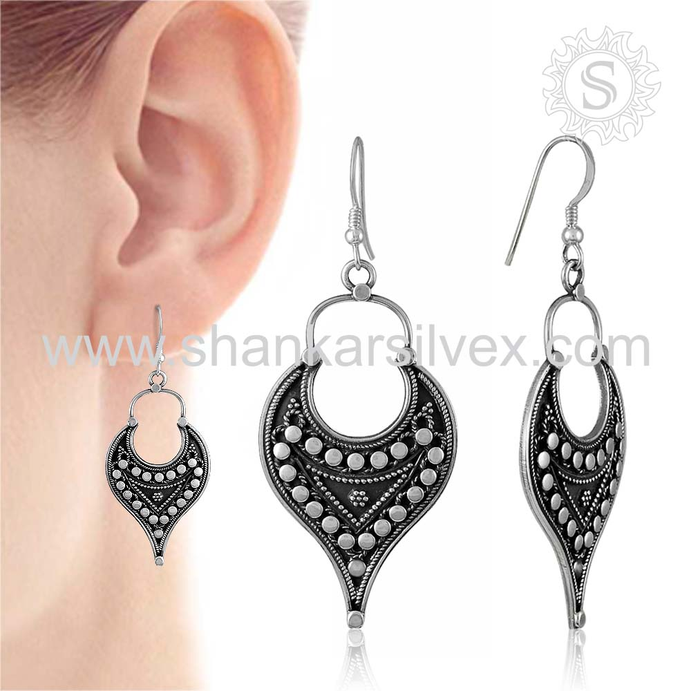 Exaggeration Ladies Fashion 925 Sterling Silver Earring Wholesaler Handmade Silver Jewelry Plain Silver Earring