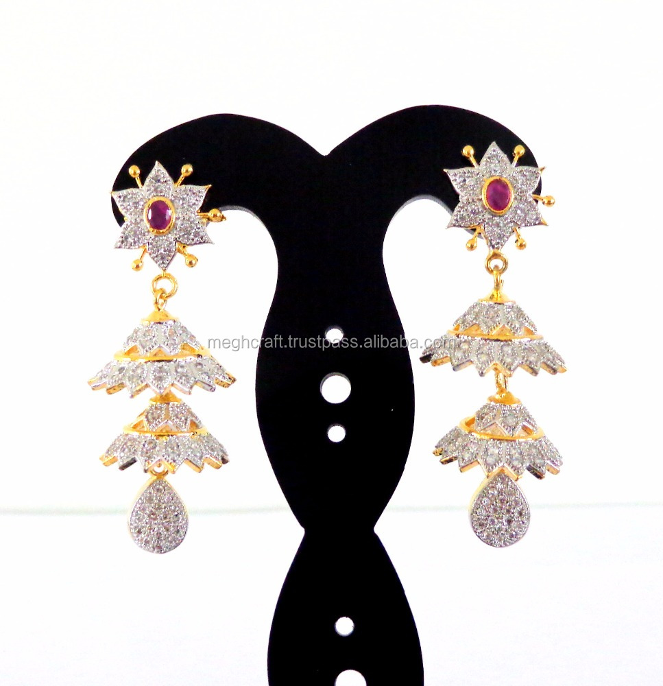 Wholesale American Diamond Jhumka Earring-2016 Fashion wear Earring-Beautiful CZ Jhumka Earring-Long Gold Plated Jhumka earring