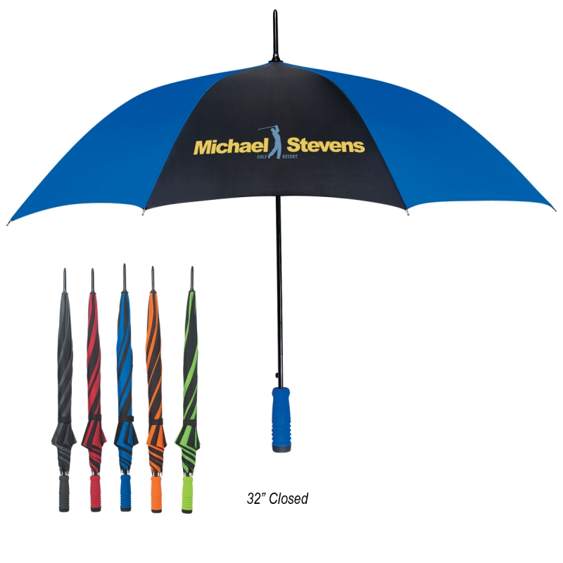 "46"" Arc Automatic Umbrella - 32"" when closed, nylon material, metal shaft and comes with your logo"