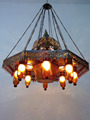 BR383 Large Moroccan Pendant Brass Chandelier Hand-Blown AMBER GLASS INSERTS