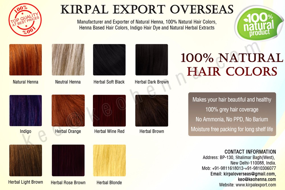 100% Natural Hair Color Shades