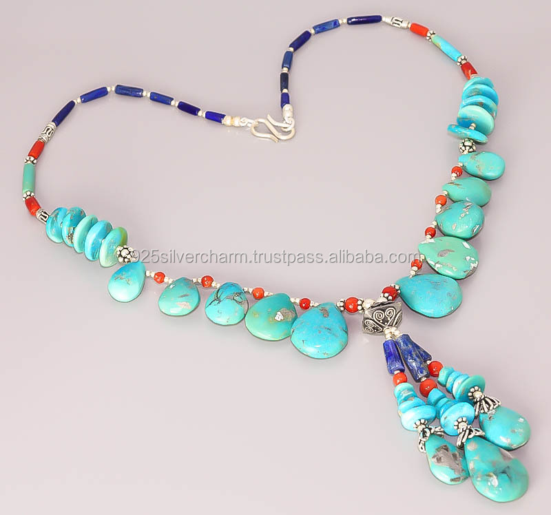 TURQUOISE CORAL 925 STERLING SILVER JEWELRY NECKLACE K535(6)