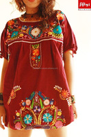 Latest Fashionable Elena Mexican vintage embroidered hippie chic tunic dress 2015