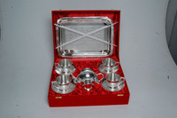 Silver Plated Brass Set Of Tea Coffee Cup, Plate Set Of Four And Kettle With Serving Tray