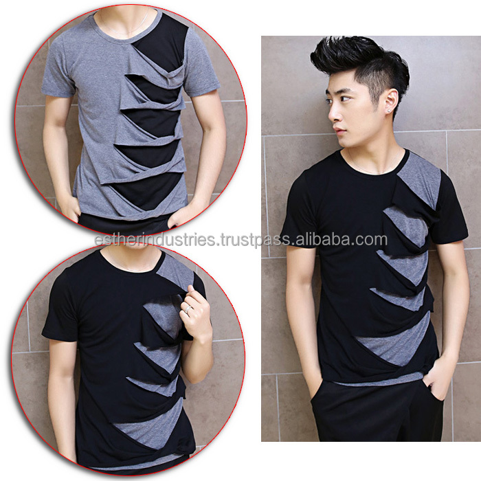 New Summer Men Irregular Ripped Holey Rock Punk t shirt/Casual-Damaged-Tee-Tops/mens designer clothes oversized ripped t shirt
