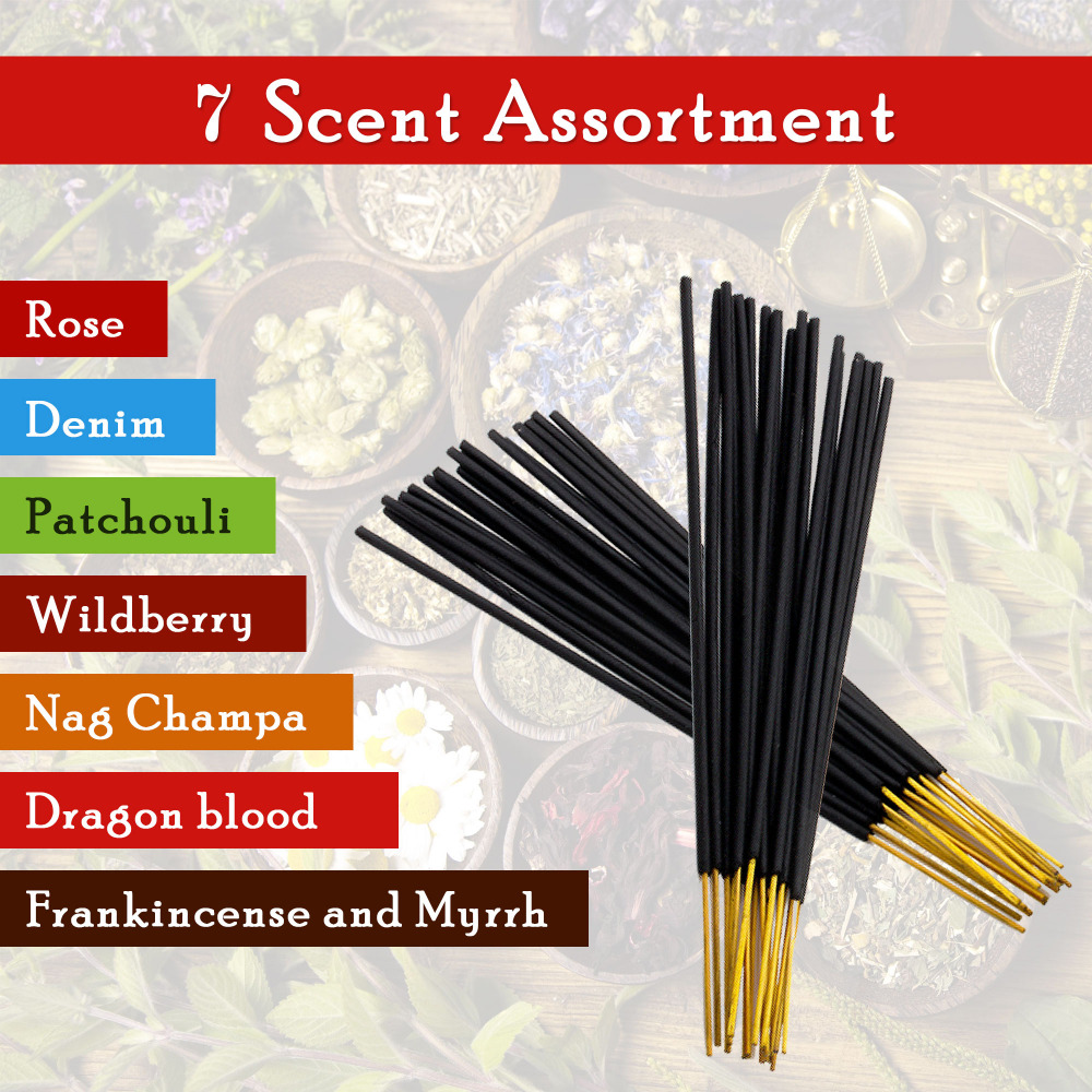 7-assorted-scents-Frankincense-and-Myrrh-Patchouli-Denim-Rose Dragon-blood-Nag-champa-Wildberry 100%-Natural-Incense-Sticks Hand
