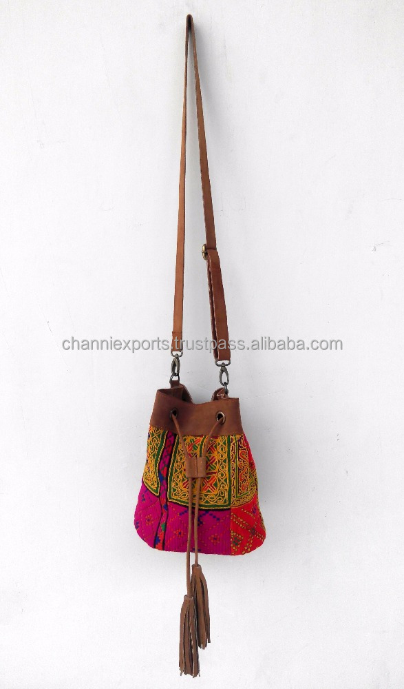 Beautiful suede bucket banjara bags with leather tassels tribal ibiza style