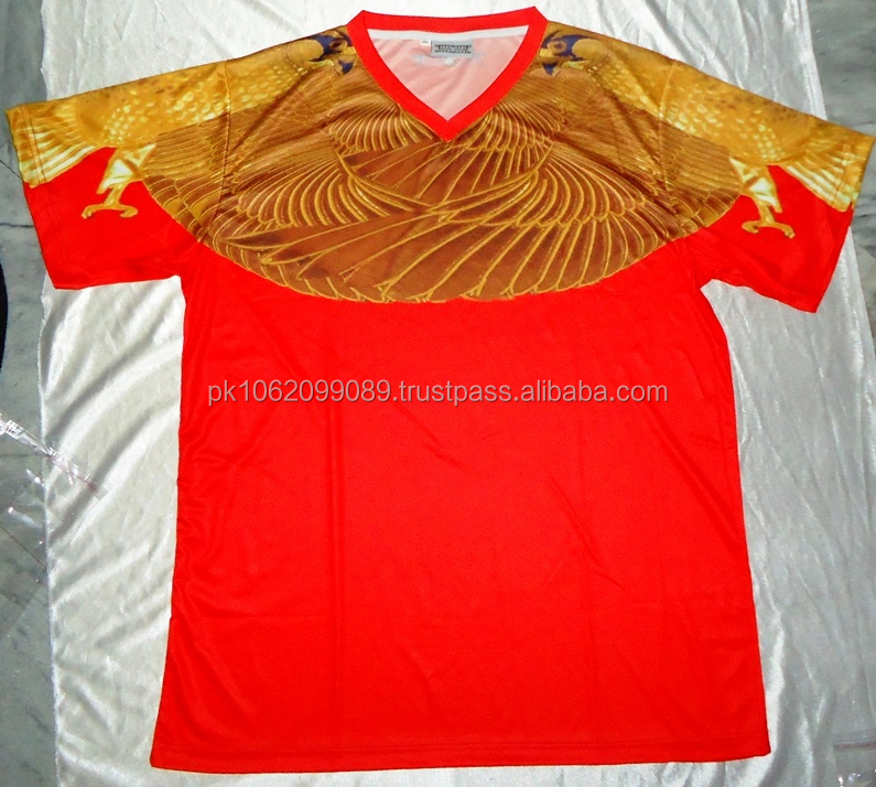 100%polyester sublimation v neck t shirt eagle design