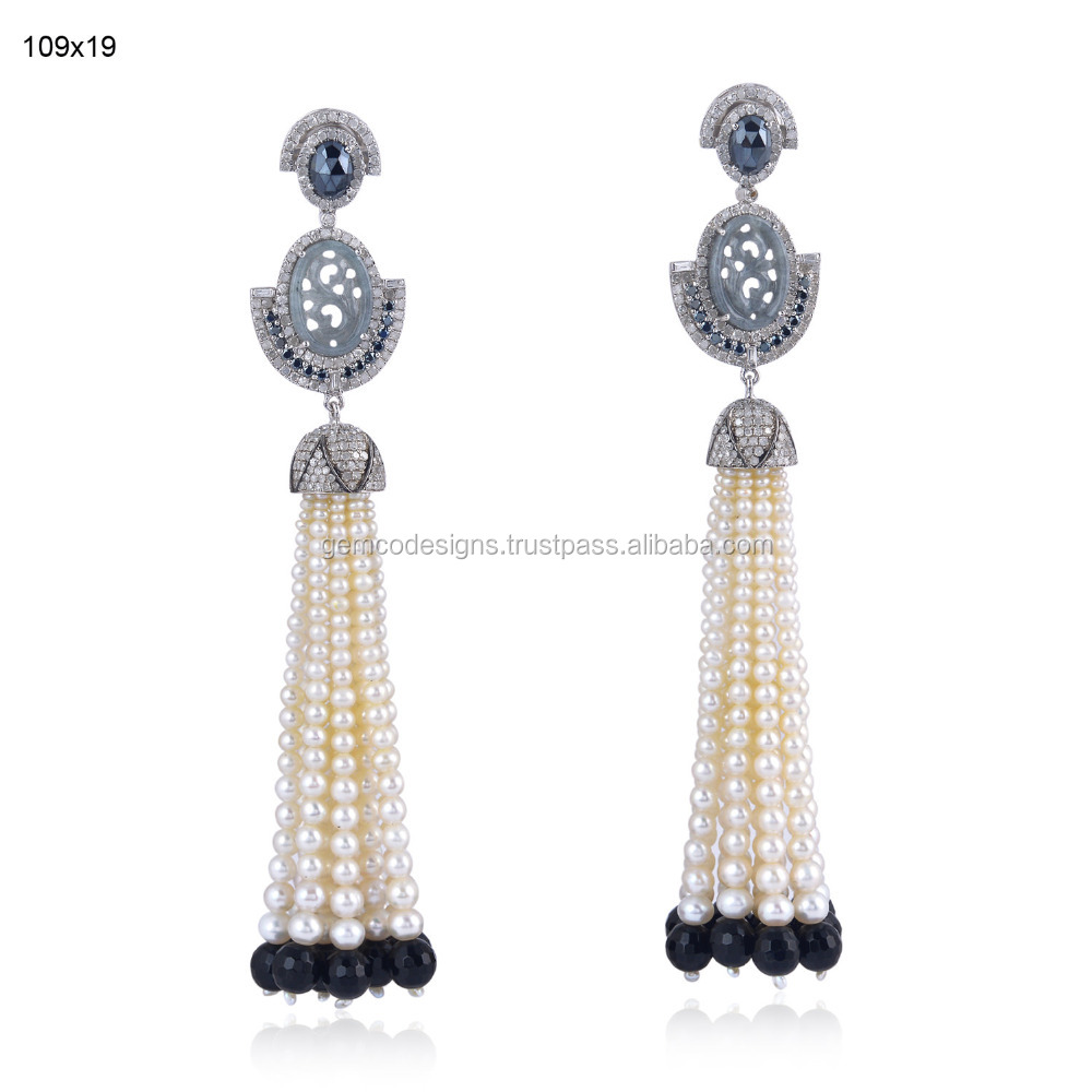 18k White Gold Tassel Earring Pearl Jewelry 925 Sterling Silver Black Onyx Jade Carved Black Spinel Tassel Pearl Earrings
