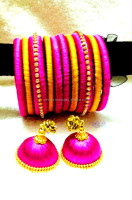 Stylish Handmade Silk Thread Jhumkas Earring with Matching Bangles,Indian fashion jhumka earrings,factory direct fashion jewelry