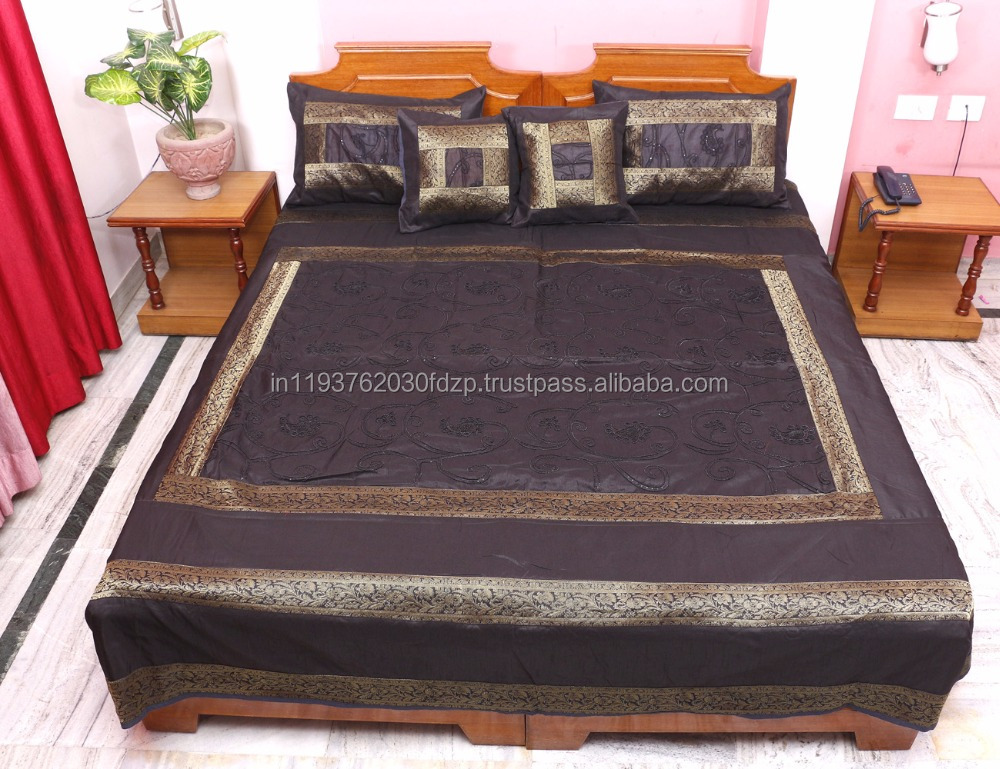 5 Piece Traditional Embroidered Silk Home Double Bed Cover Bedding Cover Throw Blanket