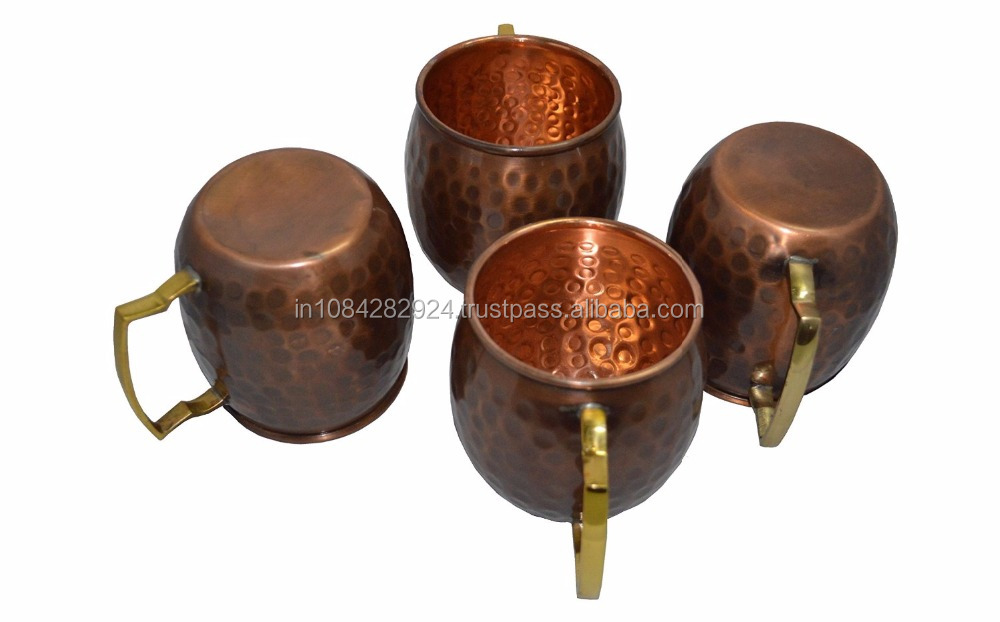 16 Ounce Antique Copper Hammered Hard Moscow Mule Mug Set Of 4