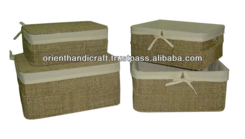 Vietnam Seagrass Rectangular Trunk - Set 4 with liner