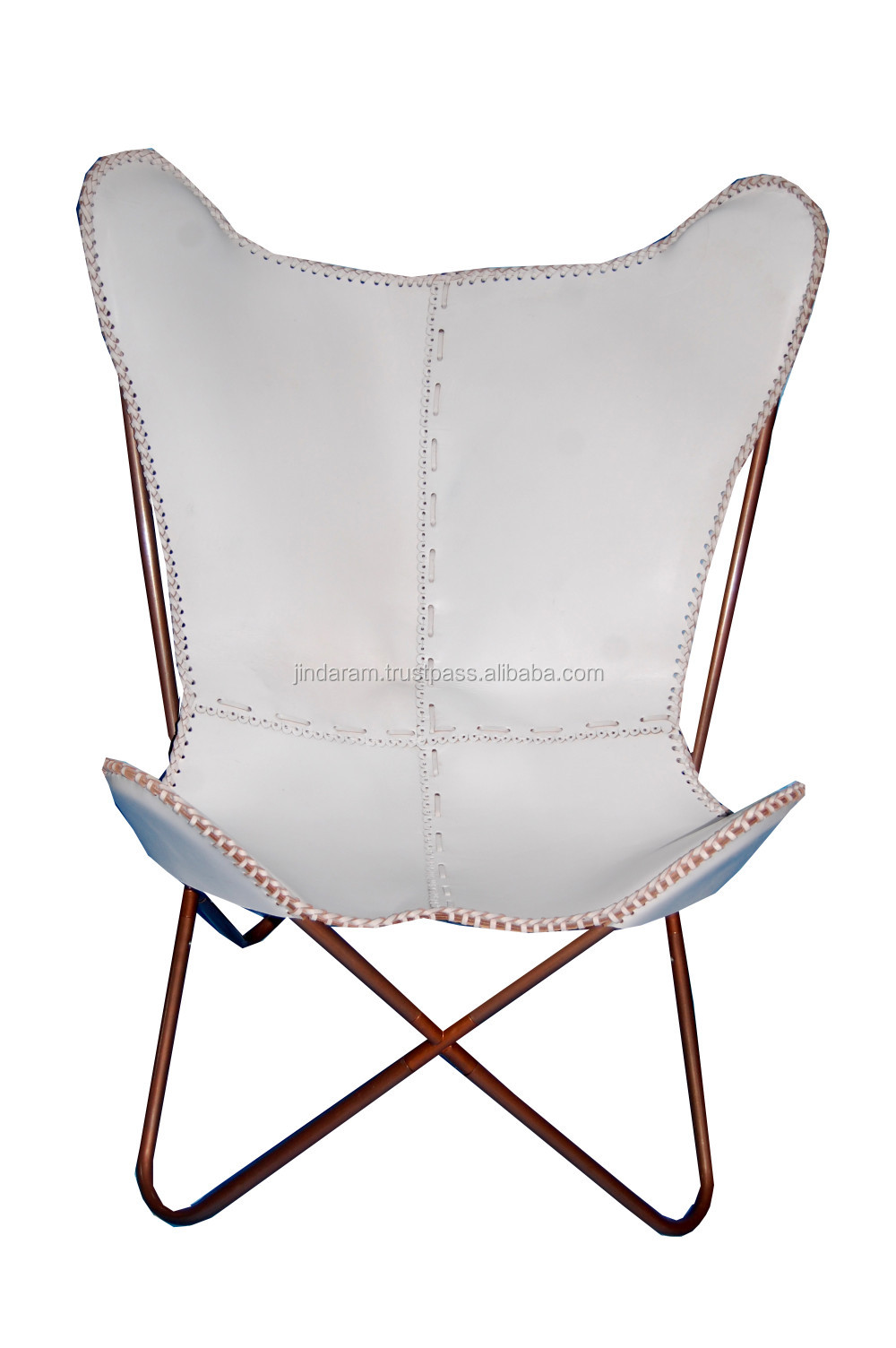 Scandinavian White Leather Butterfly Chair