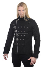 Men's Gothic Black Bondage Metal Cuff Jacket Goth Punk Emo
