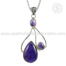 Latest charms purple amethyst gemstone pearl silver pendant 925 sterling silver jewelry indian silver jewelry exporters