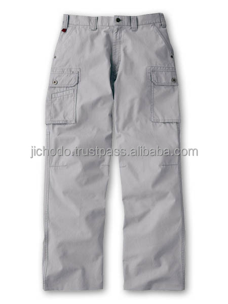 100% Cotton cargo pants ( flat front ). Made by Japan