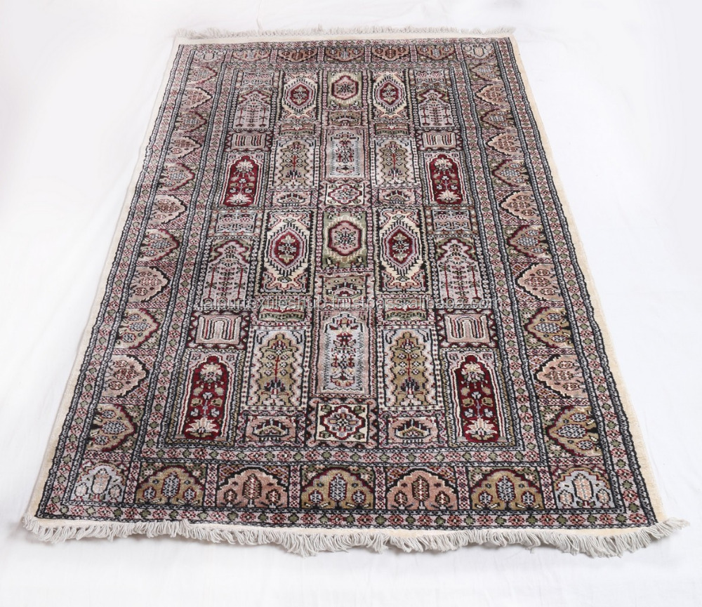 4x6 HANDMADE KASHMIRI ORIENTAL CARPET WOOL AND SILK ANTIQUE AREA RUG