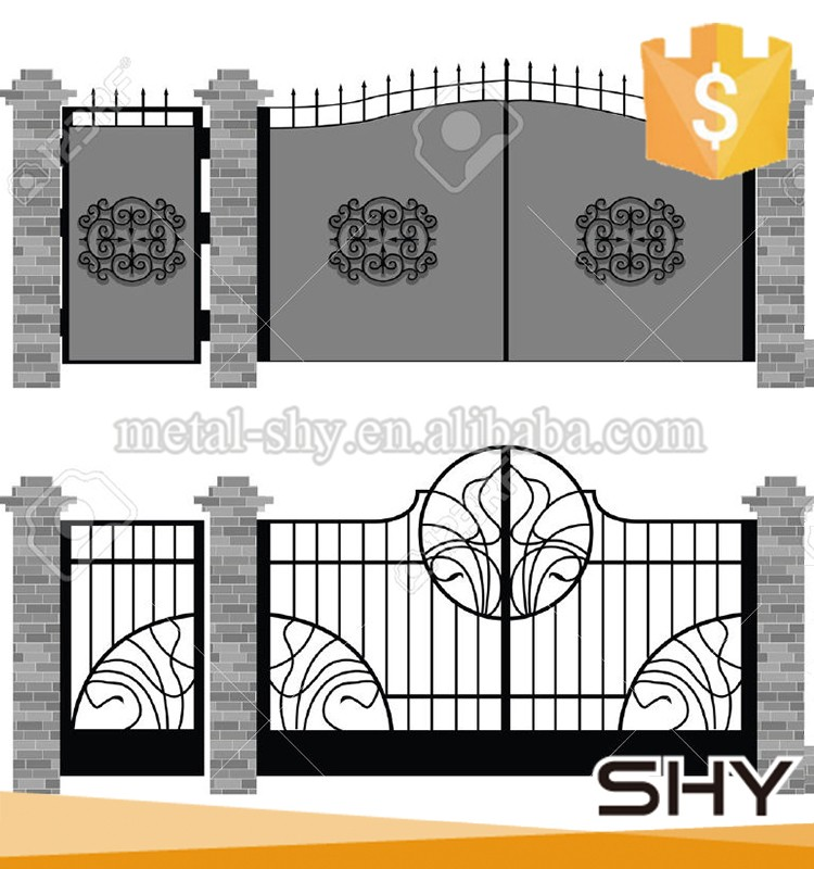 House Gate Design Main Door Wrought Iron Decorations White