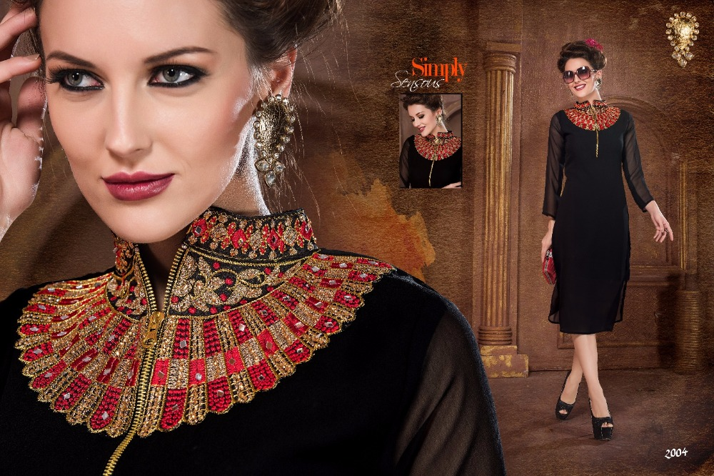 Indian Georgette Embroidered Stitched Kurtis