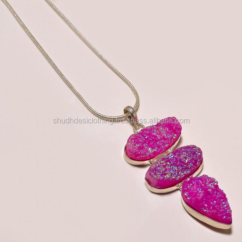 ASSORTED Stylish Natural Gemstone Pendants with Chain Online for Christmas