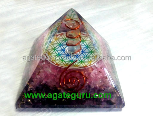 Rose Quartz Orgone Pyramid With copper wrapped point and Flower Of Life