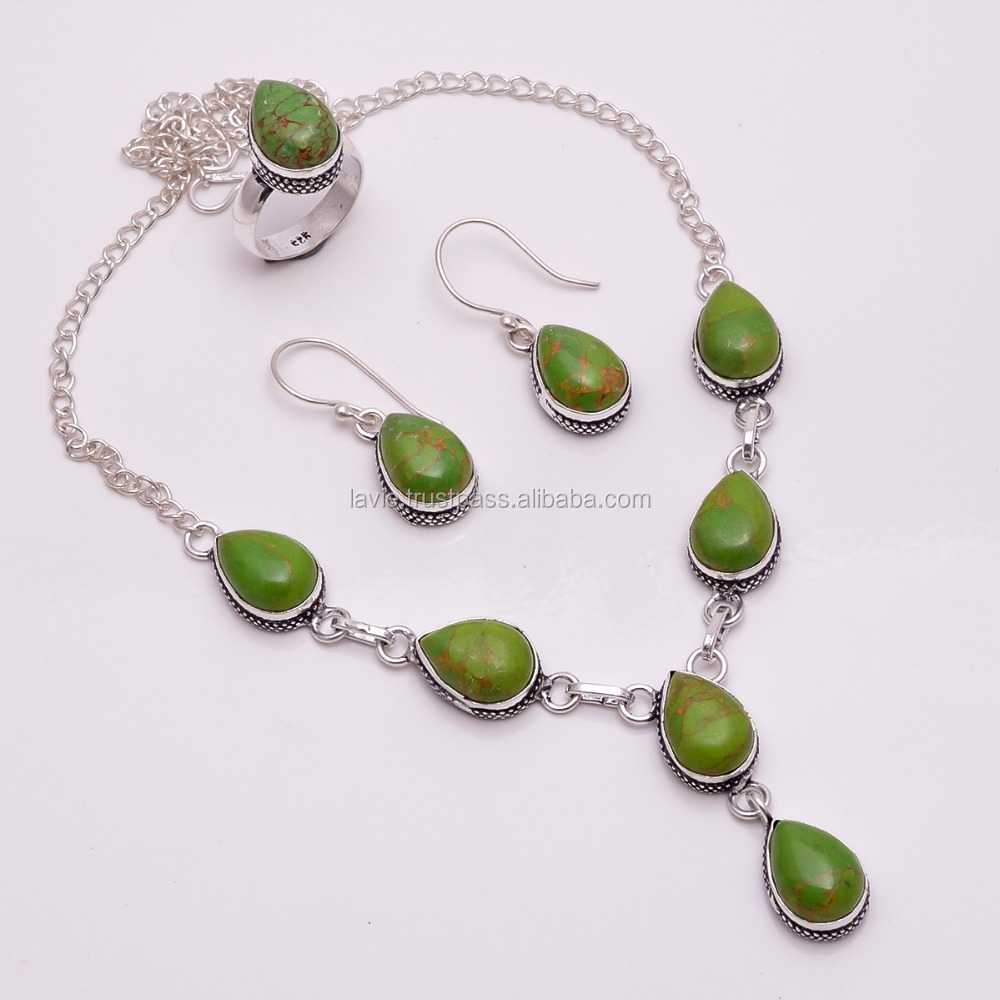 925 Solid Silver Jewelry Set, Natural Green Copper Turquoise Gemstone Jewelry, Spanish Jewelry