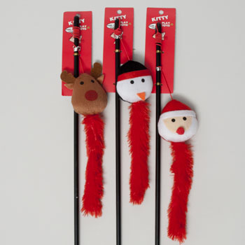 CAT TOY CHRISTMAS WAND 19.5IN 3 ASSORTED IN PDQ #66710P