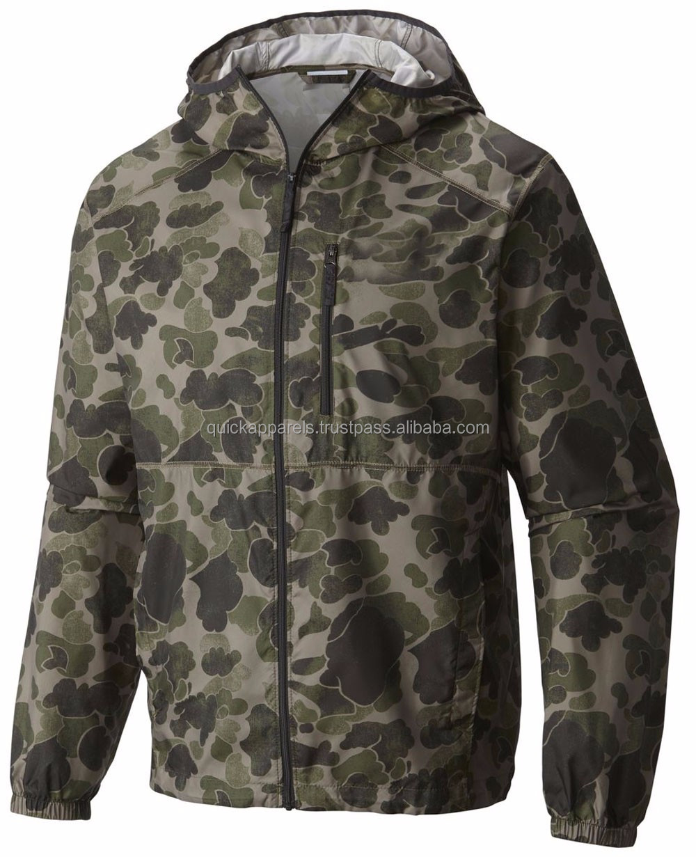Lightweight woven camo printing windbreaker jacket