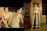 Olive embroidered salwar kameez