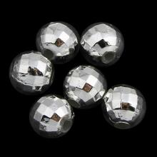 plated plating Acrylic beads beading jewelry making,silver color plated plating,faceted Hole:Approx 1mm Sold By Bag