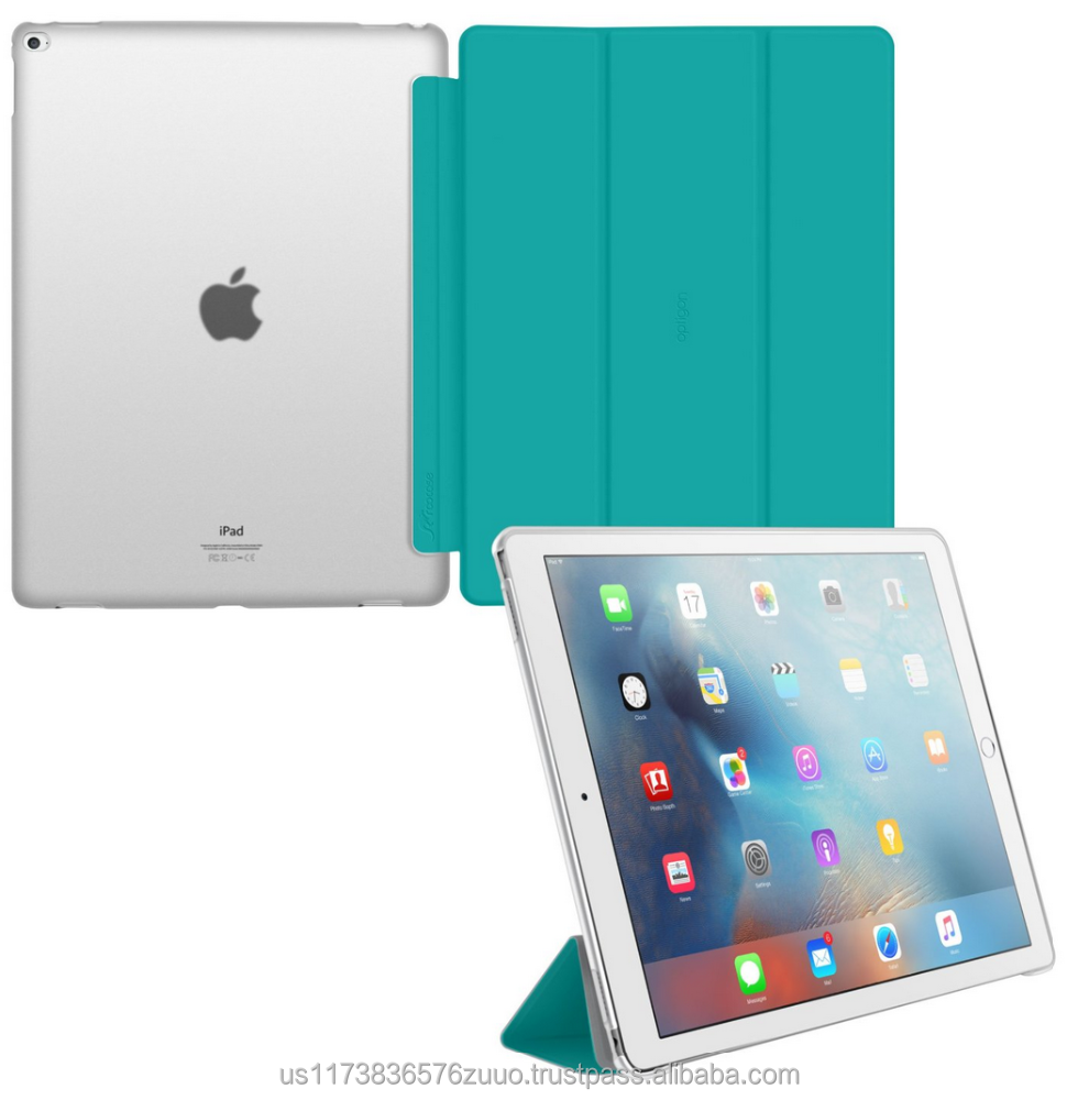 Ultra Slim Lightweight Smart Cover PC Shell Clear Case Magnetic Auto Sleep Wake for iPad Pro 12.9 roocase Optigon (turquoise)